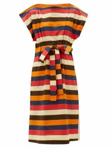 Colville - Striped Drawstring Waist Cotton Poplin Dress - Womens - Multi