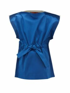 Colville - Gathered Drawstring Cotton Blouse - Womens - Blue