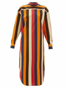 Colville - Striped Lace Up Back Cotton Poplin Shirtdress - Womens - Multi