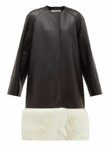 Loewe - Shearling-trimmed Collarless Leather Coat - Womens - Black White
