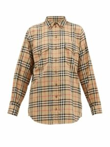 Burberry - Turnstone House Check Brushed Cotton Shirt - Womens - Beige Multi