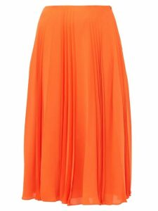 Valentino - Pleated Silk Georgette Midi Skirt - Womens - Orange