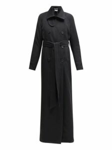 Ann Demeulemeester - Longline Wool Blend Twill Trench Coat - Womens - Black