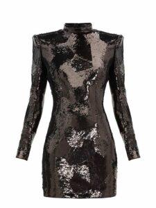 Balmain - Exaggerated Shoulder Sequinned Mini Dress - Womens - Black