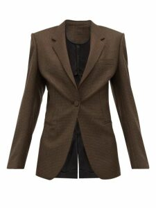 Petar Petrov - Janis Houndstooth And Contrast Back Wool Jacket - Womens - Black Brown