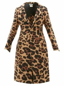 Bottega Veneta - Leopard Jacquard Single Breasted Coat - Womens - Leopard