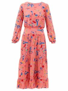 Saloni - Isabel Floral Embroidered Silk Midi Dress - Womens - Pink Multi