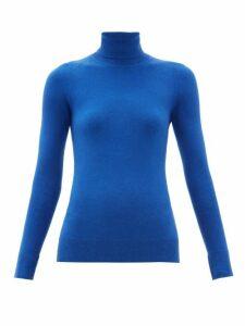 Joostricot - Peachskin Roll Neck Cotton Blend Sweater - Womens - Blue