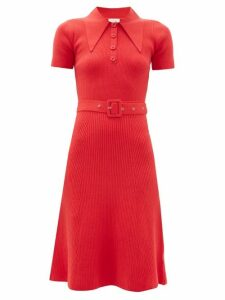 Joostricot - Peachskin Point Collar Ribbed Cotton Blend Dress - Womens - Red