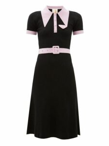 Joostricot - Peachskin Point Collar Ribbed Cotton Blend Dress - Womens - Black Pink