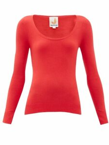 Joostricot - Peachskin Scoop Neck Cotton Blend Sweater - Womens - Red