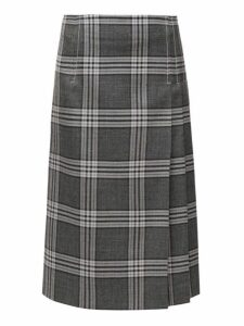 Marni - Checked Pleated Midi Skirt - Womens - Grey