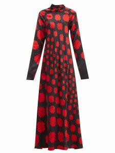 Marni - High Neck Pixel Print Satin Maxi Dress - Womens - Black Red