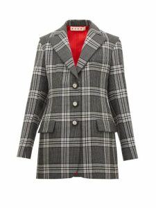 Marni - Single Breasted Satin Insert Checked Wool Blazer - Womens - Grey Multi