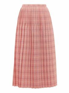Marni - Checked Pleated Wool Skirt - Womens - Pink Multi