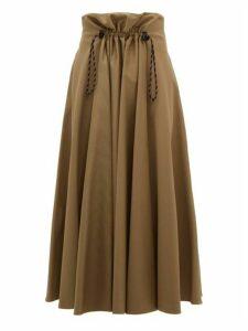 Golden Goose - Ayeme Paperbag Waist Cotton Twill Midi Skirt - Womens - Camel