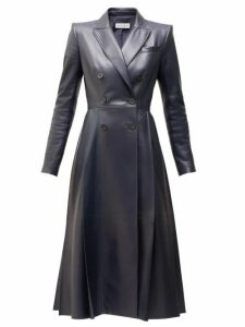 Alexander Mcqueen - Double Breasted Pleated Leather Coat - Womens - Navy