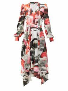 Alexander Mcqueen - Rose Print Pussy Bow Silk Dress - Womens - Red Print