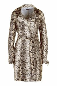 Womens Snake Print Trench Coat - brown - 12, Brown