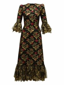The Vampire's Wife - The Wild Rose Ruffled Fil Coupé Midi Dress - Womens - Black Red