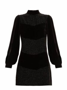 Raquel Diniz - Chloe Crystal Embellished Velvet Mini Dress - Womens - Black Silver