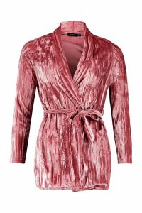 Womens Pleated Belted Velvet Blazer - pink - 12, Pink