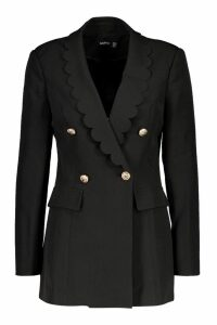 Womens Woven Scallop Military Button Blazer - black - 14, Black
