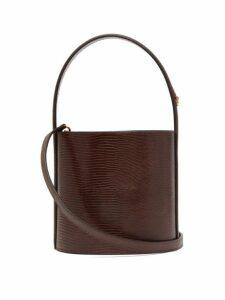 Staud - Bissett Lizard Effect Leather Bucket Bag - Womens - Brown