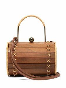 Wai Wai - Alix Wood And Rattan Cross Body Bag - Womens - Brown