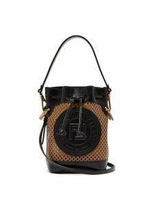 Fendi - Mon Tresor Mini Ff Perforated Leather Bucket Bag - Womens - Tan Multi