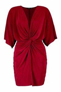 Womens Petite Twist Front Mini Dress - red - 14, Red