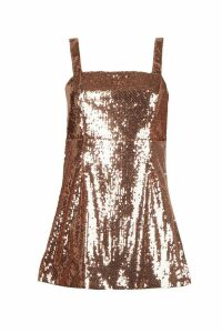 Womens Petite Square Neck All Over Sequin Bodycon Dress - metallics - 10, Metallics
