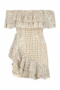 Womens Petite Metallic Frill Mini Dress - metallics - 14, Metallics