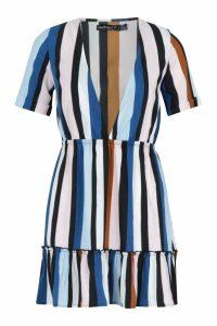 Womens Petite Stripe Ruffle Skater Dress - blue - 8, Blue