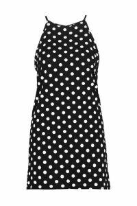 Womens Petite Large Polka Dot Shift Dress - black - 4, Black