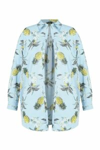 Womens Plus Floral Beach Shirt - blue - 20, Blue