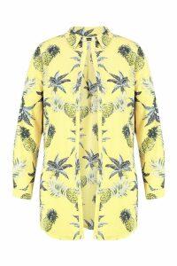 Womens Plus Floral Beach Shirt - yellow - 20, Yellow