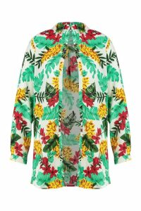 Womens Plus Tropical Print Beach Shirt - white - 20, White