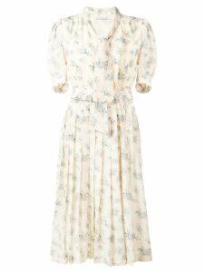 Alessandra Rich floral print shirt dress - Neutrals