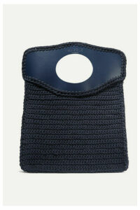 Mizele - Business Medium Leather-trimmed Crocheted Cotton Tote - Navy