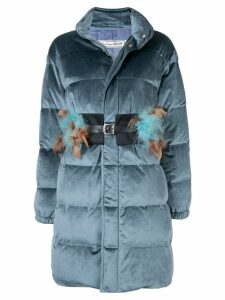 Tu es mon TRÉSOR Feather belt velours down coat - Blue