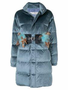 Tu es mon TRÉSOR Feather belt velours down coat - Blue