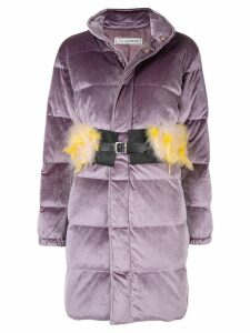 Tu es mon TRÉSOR Feather belt velours down coat - Purple