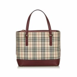 Burberry Brown House Check Canvas Handbag
