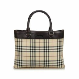 Burberry Brown House Check Canvas Handbag