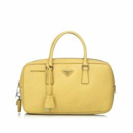 Prada Yellow Saffiano Leather Bauletto Handbag