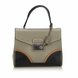 Prada Gray Leather Sound Lock Handbag