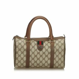 Gucci Brown Gg Supreme Web Boston Bag