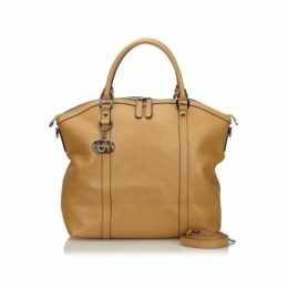 Gucci Brown Dome Large Convertible Gg Charm Tan Leather Tote