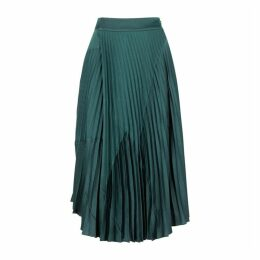 Vince Teal Pleated Satin Midi Skirt